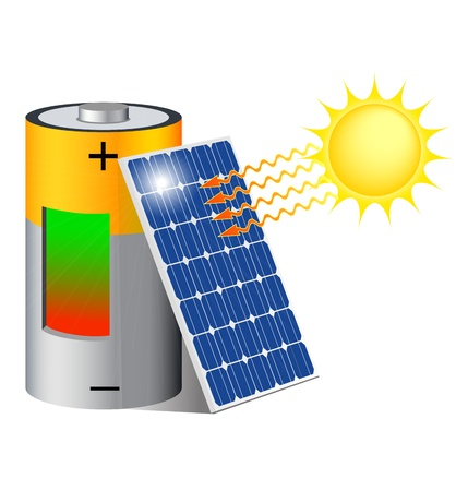 Battery charging with a photovoltaic panel exposed to the sun