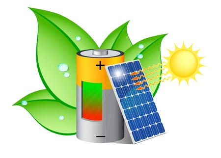solar energy: Battery charging with a photovoltaic panel exposed to the sun
