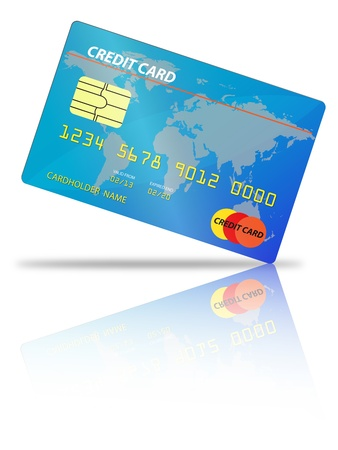 credit card placed on an angle with shadow and reflection on a white