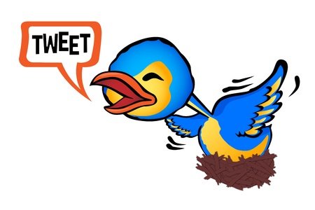 chirp: small bird in its nest chirping strongly Illustration