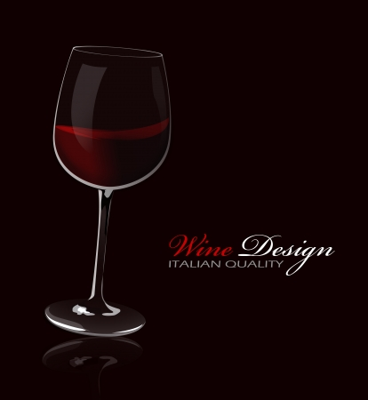 glass reflection: Glass of red wine with reflection on a dark background