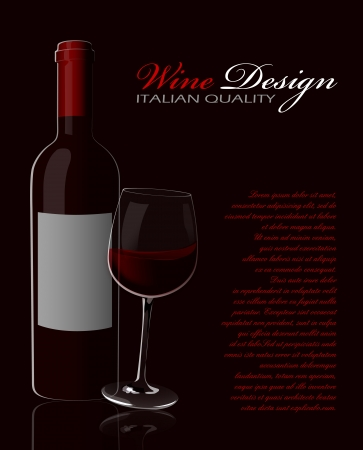 Glass of red wine with reflection on a dark background Vector