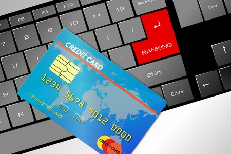 mouse with a credit card, concept of online banking Vector