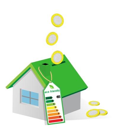 house bank, concept of energy saving Illustration