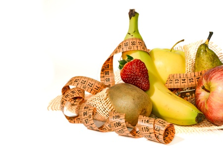 revolves: Composition of mixed fruit with a meter that revolves around the concept of balanced diet