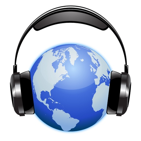 Planet earth listening music with a radio headset Vector