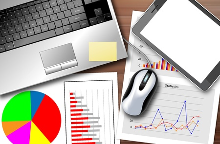 Desk with a laptop and a set of statistics to monitor the progress of the business Illustration