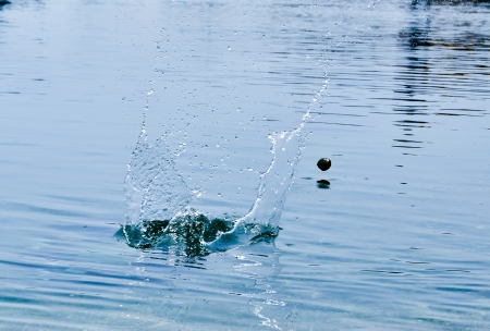 stone cold: stone bouncing fast on the water surface