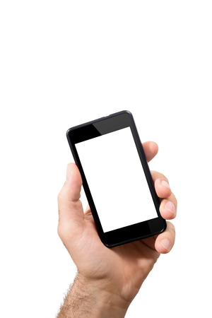 hand of man is holding mobile smartphone with touch screen empty. Subject isolated on a white background Stock Photo