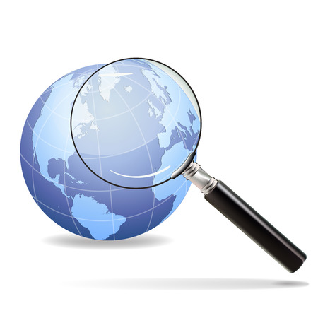 focuses: Magnifying glass focuses on the old continent on the planet earth
