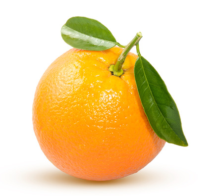 ripe orange with a green leaf on a white background Stock Photo