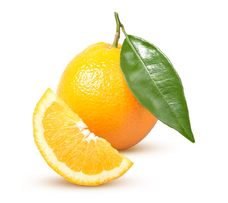 Ripe orange with a green leaf on a white background