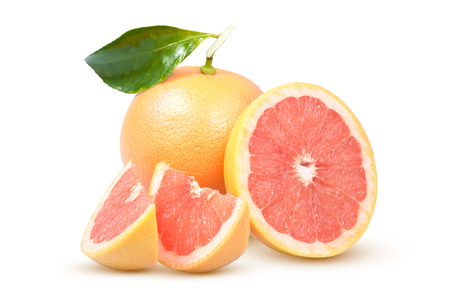 Ripe grapefruit composition on a white background