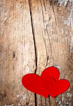 San Valentino Vintage Handmade Coppia Hearts su sfondo in legno
