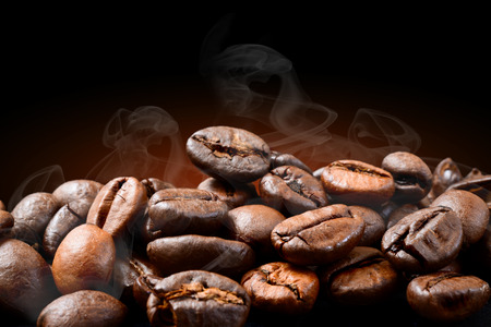 coffee beans who smoke during roasting  Stock Photo