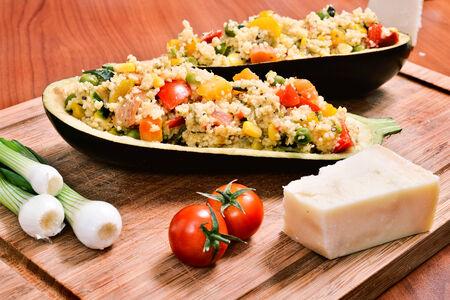 couscous: couscous with vegetables inside a hollowed eggplant