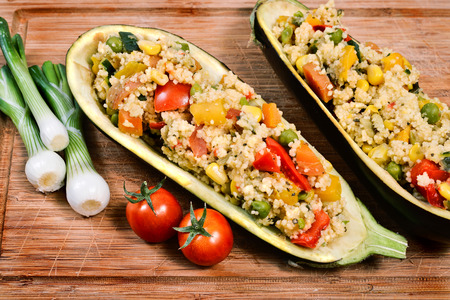 couscous with vegetables inside a hollowed eggplant