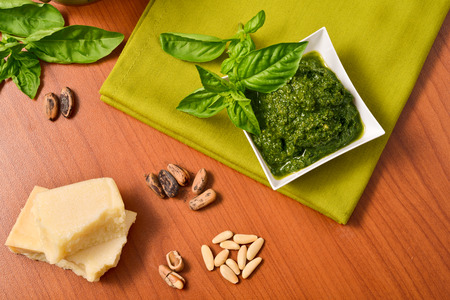 leaf close up: Italian Cuisine. Pesto genovese Sauce. Basil.