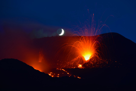Etna eruption 2014 with explosions. Sicily - Italy