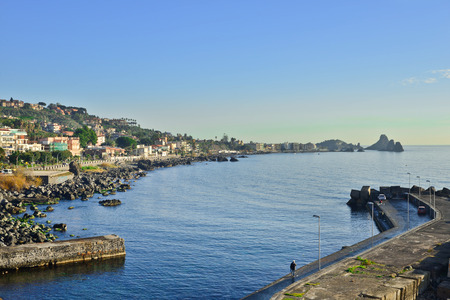 Seascape. Seafront of Acireale in the province of Catania, Italy