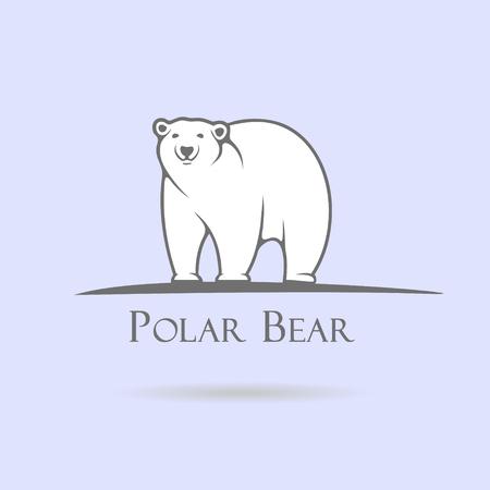 Big stylized polar bear on a blue background  イラスト・ベクター素材