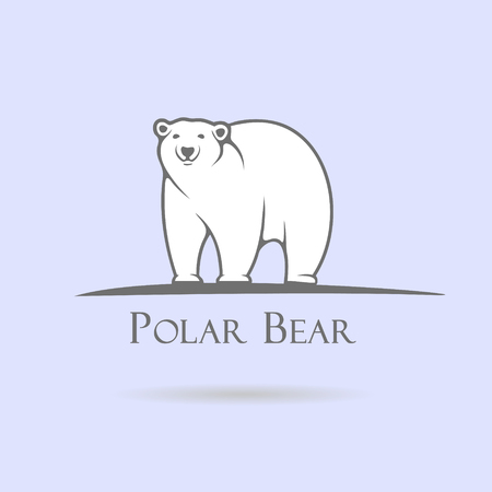 Big stylized polar bear on a blue background Vettoriali