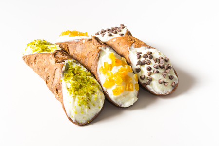 sicilian: Traditional homemade Sicilian sweet called cannoli stuffed with cream cheese Stock Photo