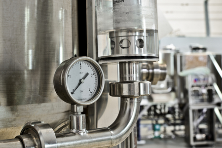 barometer: Close up of barometer in beer production industry