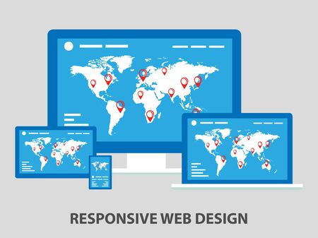 electronic device: Flat responsive web design composition for any device. Illustration