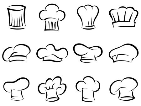 kitchener: set of chef hats icons. stylized silhouettes