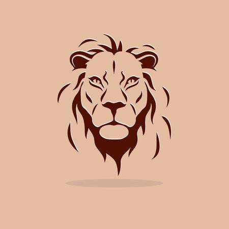 Gran cabeza estilizada del león en un fondo de color naranja Foto de archivo - 59895814