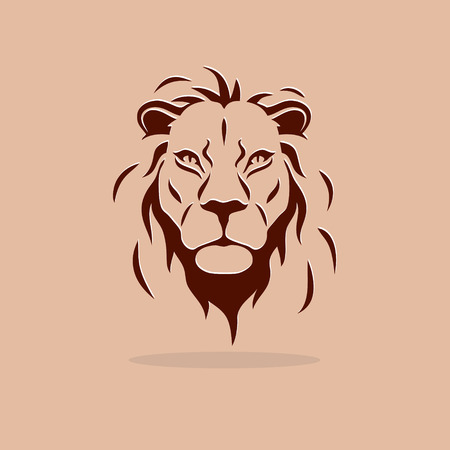 Big stylized lion head on a orange background Vectores