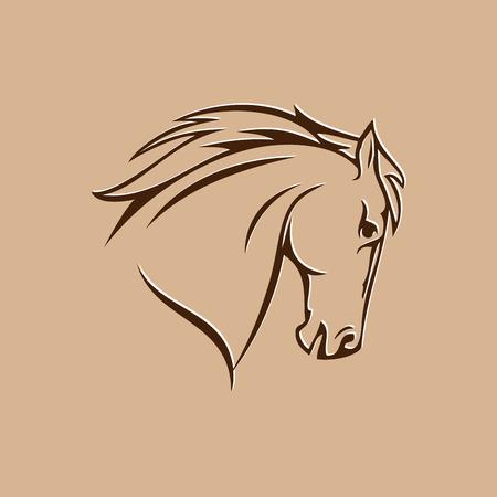 Símbolo de la cabeza de caballo estilizado en un fondo marrón Foto de archivo - 59895821