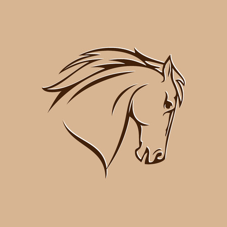 symbol of stylized horse head on a brown background