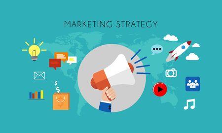web marketing: Web marketing - A Marketing strategy flat concept