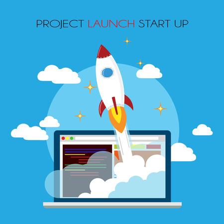 Flat design business startup launch concept