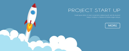 Flat design of call to action. Project Start Up Concept