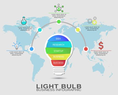 idea lamp: Business startup idea, lamp concept with 5 options. Success brainstorming infographic