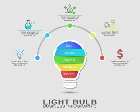 idea lamp: Creative design of a colorful business startup idea, lamp concept with 5 options. Success brainstorming infographic Illustration
