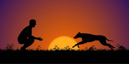 sundown: Silhouette of a man with his dog on the grass. Dog training concept