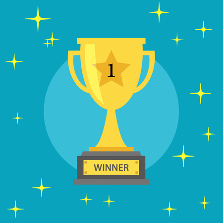 sports winner: winner gold trophy on a blue background - Vector illustration Illustration