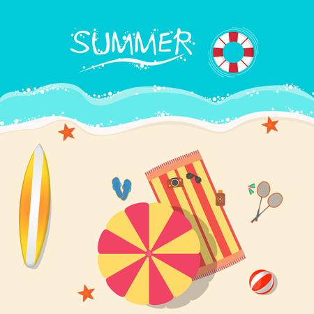 sand: Top view of a sunny beach. Summer vacation concept Illustration