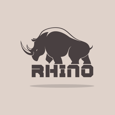 Rhino Silhoulette on a brown background Illustration