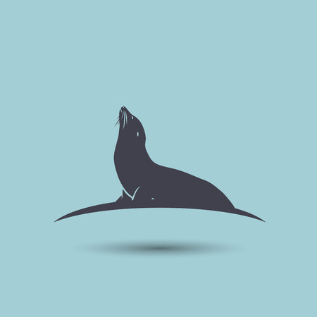 Sea Lion symbol on a blue Background. Vector element
