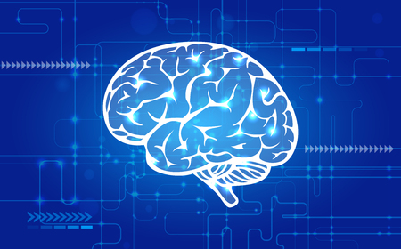 Abstract human Brain on Technology background. Artificial intelligence concept illustration 向量圖像