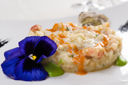 Risotto with oysters, shrimp and two vegetable sauces, decorated with a colorful flower