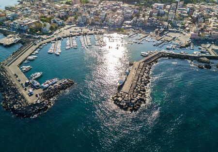 Aerial view of the beautiful marina in Acitrezza, Sicily