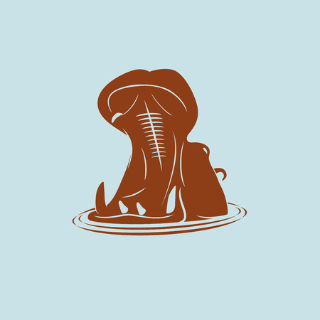 Vector animal. Hippopotamus coming out of the water with his mouth open