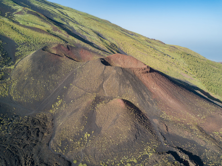 Aerial view of the silvester craters on the Volcano Etna, Volcanic landscape 版權商用圖片