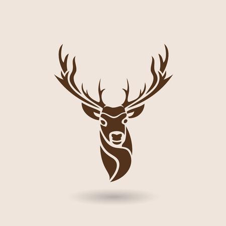 Hertenhoofd; dierensymbool, embleem of sticker voor branding, drukwerk, sportteam. Vector illustratie.